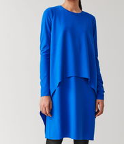 """""""COS"""" LONG-SLEEVED LAYERED DRESS BLUE"""