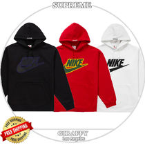 [追跡付] SUPREME x Nike Leather Applique Hooded Sweatshirt