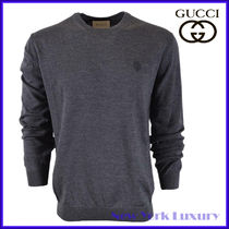 Gucci★素敵!Gray Wool Hysteria Crest Logo Crewneck Sweater