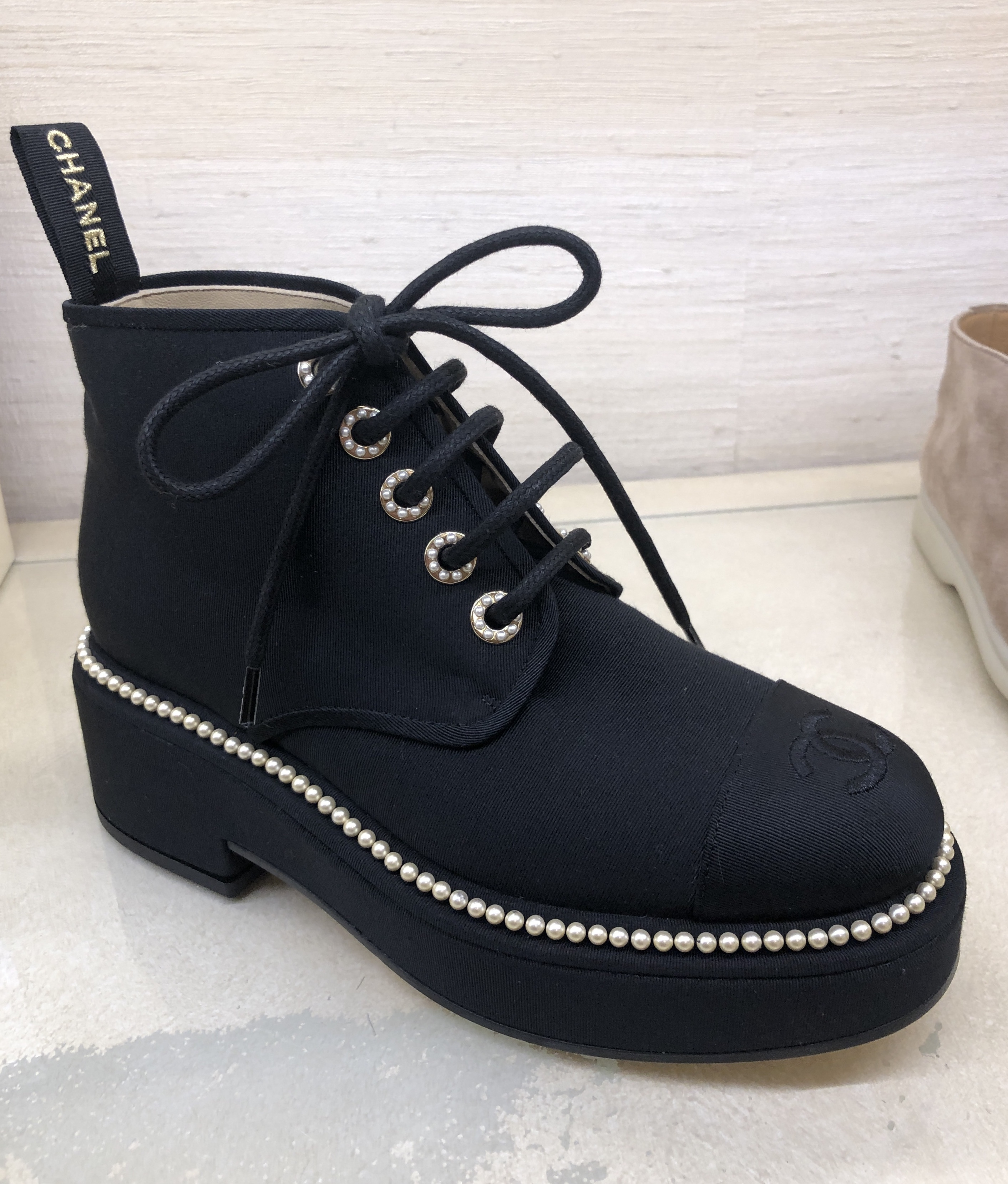 chanel lace up booties