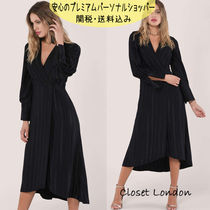 国内発送Closet BLACK STRIPE LONG SLEEVE WRAP MIDI DRESS