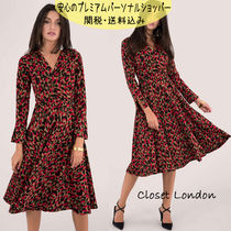 国内発送Closet LEOPARD PRINT LONG SLEEVE WRAP MIDI DRESS