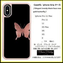Casetify iphone Gripケース♪Elegant trendy black faux rose♪
