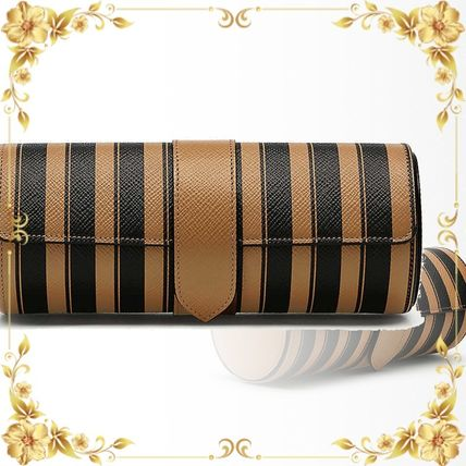 SMYTHSON スーツケース 関税込み◆Panama striped leather travel watch roll