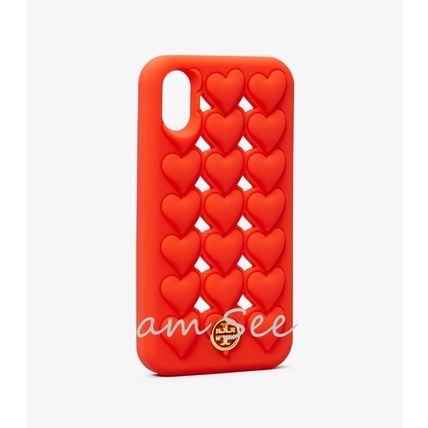 Tory Burch スマホケース・テックアクセサリー 【TORY BURCH】HEARTS SILICONE iPhone X/XS ケース