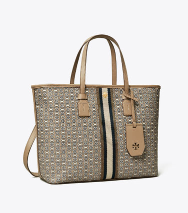 Tory Burch トートバッグ 【Tory Burch】 GEMINI LINK CANVAS SMALL TOP-ZIP TOTE