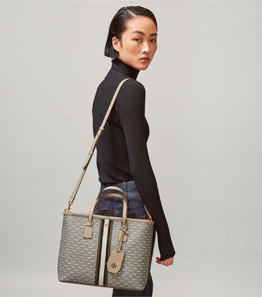 Tory Burch トートバッグ 【Tory Burch】 GEMINI LINK CANVAS SMALL TOP-ZIP TOTE(4)