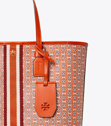 Tory Burch トートバッグ 【Tory Burch】 GEMINI LINK CANVAS SMALL TOP-ZIP TOTE(19)