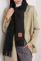 ★関税負担★LOEWE★LEATHER-TRIMMED MOHAIR-BLEND SCARF