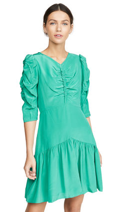 rebecca taylor ボレロ・ショール 関税込み◆Long Sleeve Silk Ruched Dress(7)