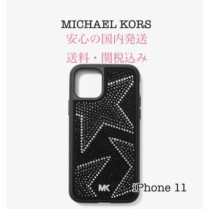 Michael Kors スマホケース・テックアクセサリー *国内発送* SALE MK Embellished iPhone Cover for iPhone 11