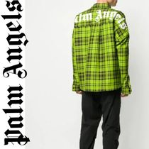 新作!国内発送 PALM ANGELS printed logo tartan シャツ