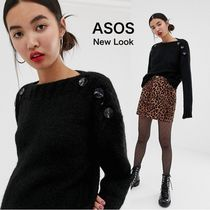 ASOS☆button neck jumper in black 送関込