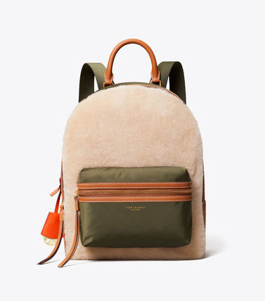 Tory Burch バックパック・リュック 最終セール 新作 Tory Burch Perry Shearling Backpack もこもこ(3)