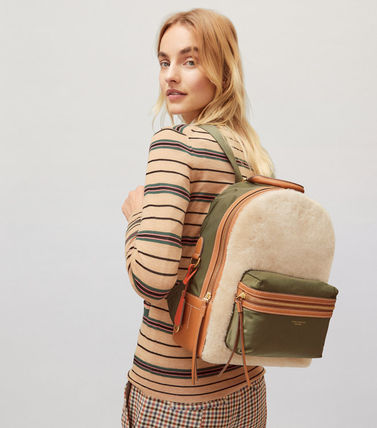 Tory Burch バックパック・リュック 最終セール 新作 Tory Burch Perry Shearling Backpack もこもこ(6)