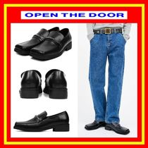 [OPEN THE DOOR]  cow hide square toe chain loafer  /追跡付