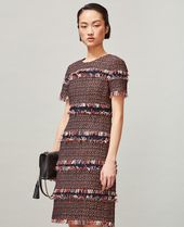 Tory Burch TWEED FRINGE DRESS