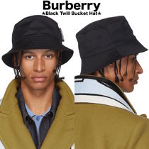 【BURBERRY】限定セール●Logo Detail Cotton Twill Bucket Hat