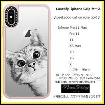 Casetify iphone Gripケース♪peekaboo cat on rose gold♪