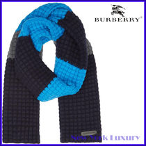 Burberry★素敵!Striped Waffle-Knit Wool&Cashmere Scarf