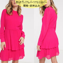 国内発送ASOS/Warehouse tiered pleated dress in bright pink