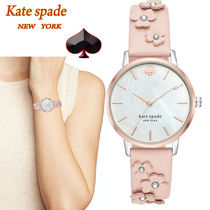 特別価格!Kate Spade metro floral pale vellum leather watch