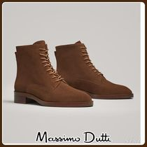 MassimoDutti♪SPLIT SUEDE FLAT LACE-UP ANKLE BOOTS