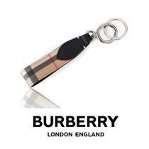 ★BURBERRY★人気の贈り物★VINTAGE CHECK E CANVAS KEY HOLDER