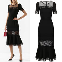 DG2211 LACE-PANELLED COTTON DRESS