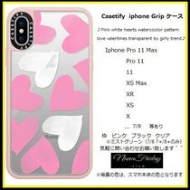 Casetify iphone Gripケース♪Pink white hearts ...♪