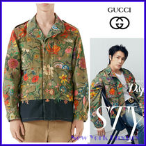 GUCCI★素敵!FLORAL WASHED GREEN COTTON JACKET