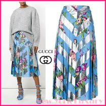 GUCCI★素敵!Blue Pleated Striped Floral Skirt
