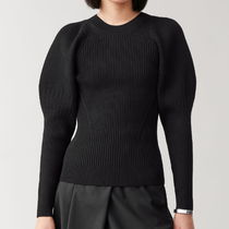 """""""COS"""" PUFF SLEEVE KNITTED TOP BLACK"""