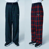 ★WAI KEI★韓国 パンツ Wide Cotting Check Banding Slacks 2色
