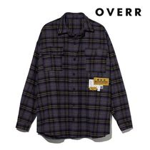 ★OVERR★NONE.1 LABEL POINT CHECK SHIRTS PURPLE