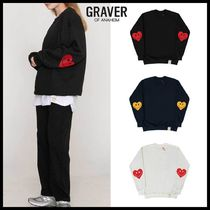 ◆GRAVER◆ ELBOW HEART SMILE SWEATSHIRT (全4色) 男女兼用