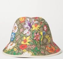 ★GUCCI★LEATHER-TRIMMED PRINTED COATED-CANVAS BUCKET HAT