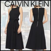 【CalvinKlein】カルバンクラインSOLID BELTED FIT+FLAREドレス
