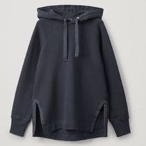 """""""COS"""" COTTON HOODIE WITH SIDE SLITS NAVY"""
