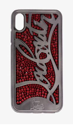 Christian Louboutin スマホケース・テックアクセサリー 【Christian Louboutin】Red Ricky embellished iPhone X ケース