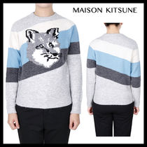 【MAISON KITSUNE】FOX HEAD DIAGONAL STRIPES PULLOVER/Ladies