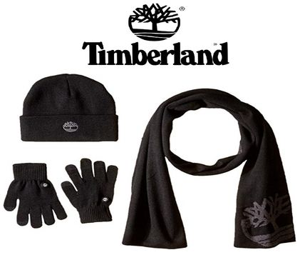 Timberland ニットキャップ・ビーニー Timberland ロゴ入り メンズ セット Double Layer Scarf Cuffed