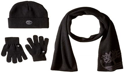 Timberland ニットキャップ・ビーニー Timberland ロゴ入り メンズ セット Double Layer Scarf Cuffed(3)