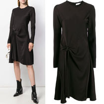 C504 SATIN DRESS WITH KNOT DETAIL