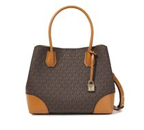 Logo-print faux textured and smooth-leather tote