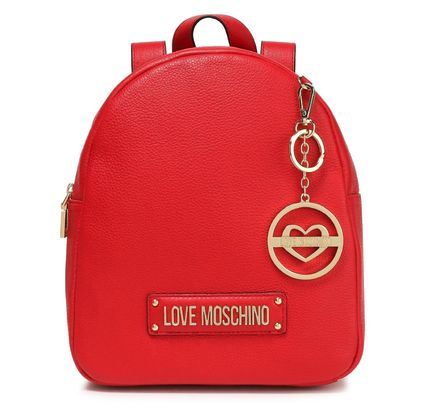 Love Moschino バックパック・リュック ★ラブモスキーノ★Logo-embellished textured-leather backpack