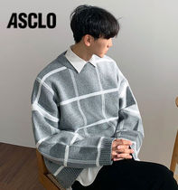 ASCLO Lambswool Overfit Checked Knit  s949