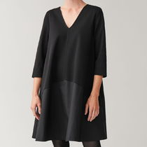 """""""COS"""" JERSEY DRESS WITH WOVEN PANEL BLACK"""