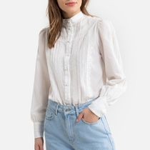 La Redoute Cotton High-Neck Shirt with Long Sleeves