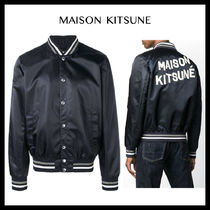 【MAISON KITSUNE】SATIN TEDDY/Mens/Navy/ロゴ/ブルゾン/19FW